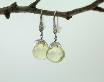 Handmade 925 sterling silver lemon quartz earring (VE253)