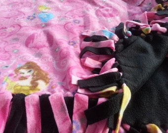 READY TO SHIP Pink Princess Knotted Fleece Throw With Antipill Backing