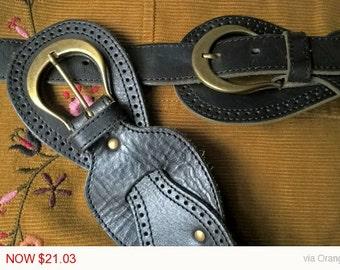 Sale -25% Off Black Leather Vintage Belt • Women Belt • Wide belt • Boho belt • Gypsy belt • Hippie belt