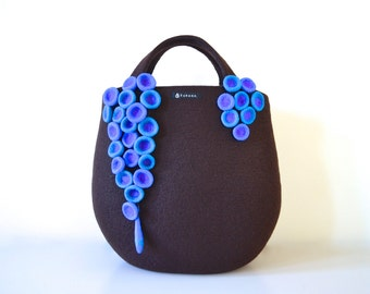 Sea anemone tote bag * dark brown & blue