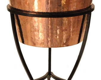 Solid Copper Party Bowl/Planter With Wrought Iron Stand