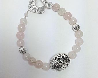 Beaded rose quartz bracelet