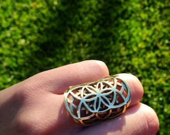 Sacred Geometry Ring- Seed of Life- Sacred Jewelry- Gypsy Ring