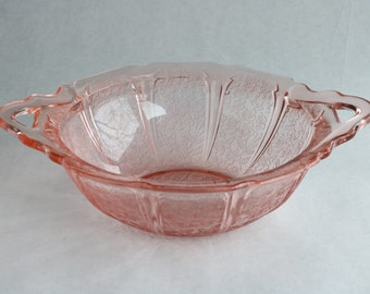 Pink Cherry Blossom Glass bowl/Jeannette co.