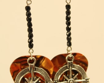 Rock on with Tiger Brown Guitar Pick Earrings with Pewter Compass and Black Accents.