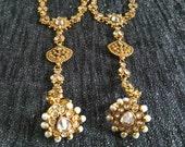 A pair of Designer Haath panja, hand jewellery Indian Pakistani ethnic jewellery, Kundan Jewellery, white stone hath panja