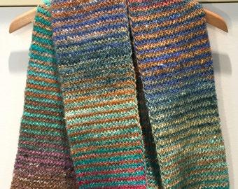 Hand Knit Striped Scarf