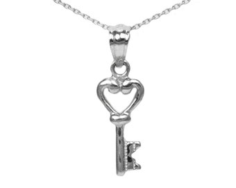 Sterling Silver Heart Key Necklace