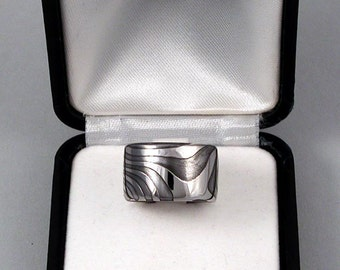 Stainless Damascus Band Ring