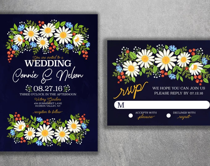 Daisy Wedding Invitations Set Printed - Wild Flower Wedding Invitations, Flowers, Floral, Spring, Boho, Yellow, Baby's Breath, Affordable