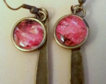 bronze cabochon earrings
