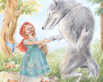Red Riding Hood Meets the Wolf - Giclee Print