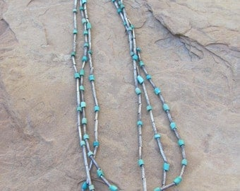 Turquoise and Vintage Silver Necklace
