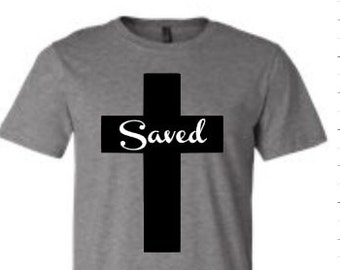 Saved t-shirt saved shirt saved cross shirt saved cross t-shirt christian shirt christian t-shirt religious t-shirt Enid and Elle