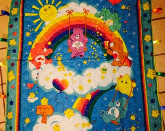 """Care Bears crib/toddler bed sized """"taggie"""" Quilt"""