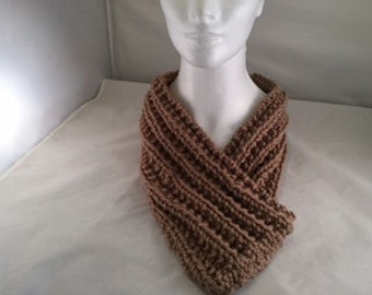 Cowl neck scarf tan knit #1004