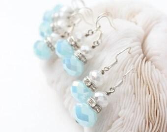 Blue Bridesmaids Earrings - Bridesmaids Jewelry - Beach Wedding Jewelry - Set of 4 Bridesmaids Earrings