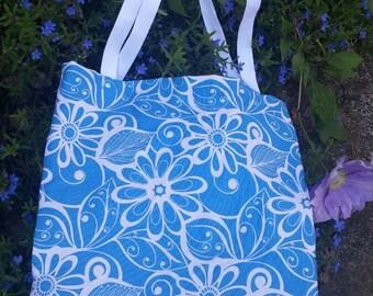 Blue Flower Market Bag - Farmers Market Bag - Tote Bag - Beach Bag - Bag for Her