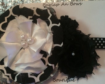 Black and white flower headband