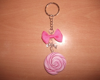 Keyring white pink lollipop in fimo