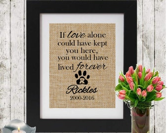 Personalized Pet Memorial - IF LOVE ALONE - Monogrammed Pawprint - Loss of a Pet - Dog/Cat  Name and Dates - In Memory of a cat - Sympathy