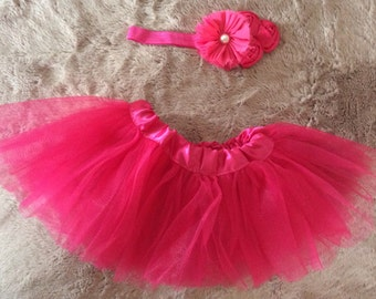 Hot pink baby tutu and headband
