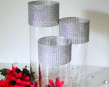 Tall Bling Wedding Centerpieces (Set of 3)- Wedding Table Centerpieces, Rhinestone Vases, Floral Centerpieces, Candle Holders For Weddings