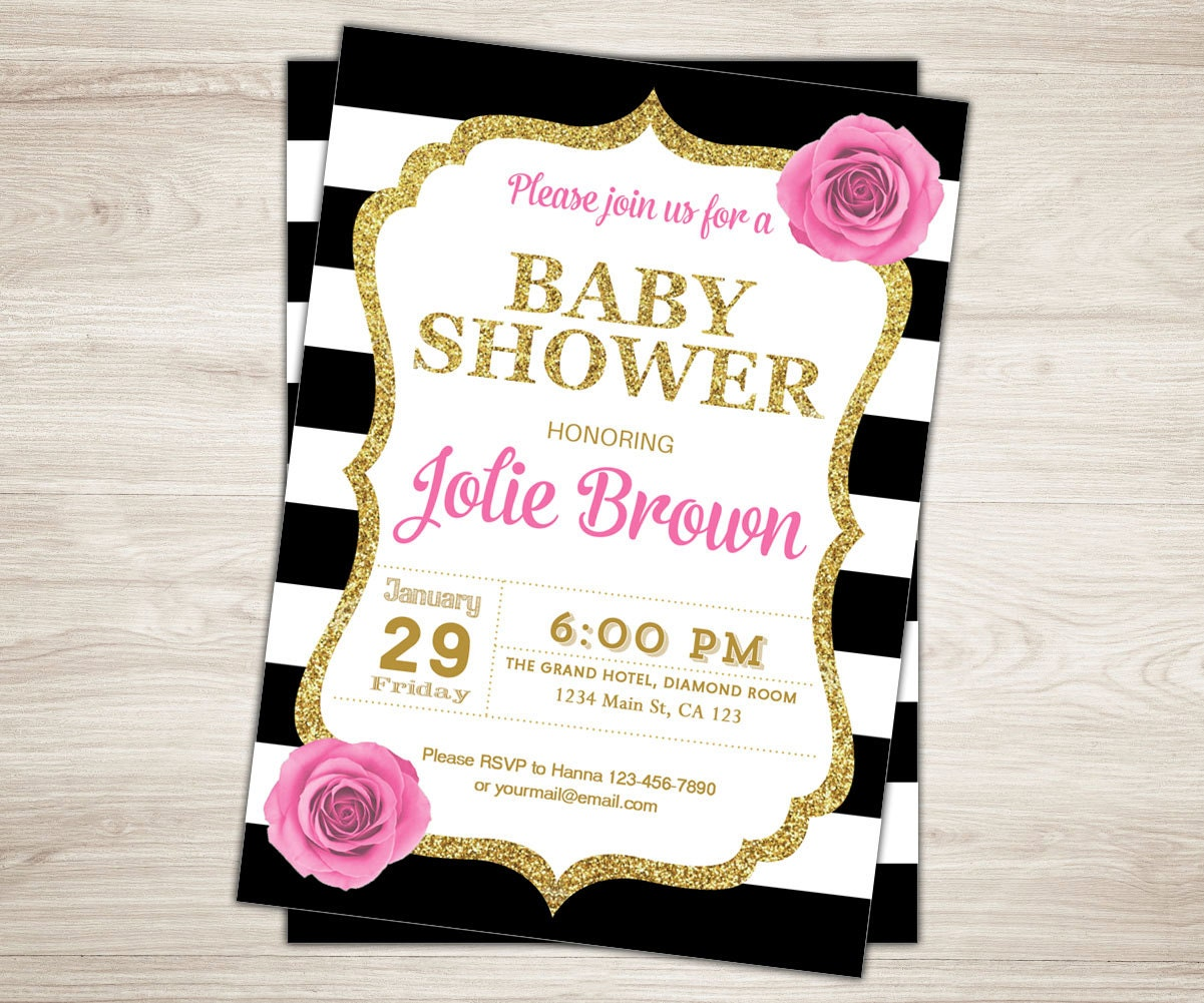 Pink Black Gold Baby Shower Invitation. Black And White Baby