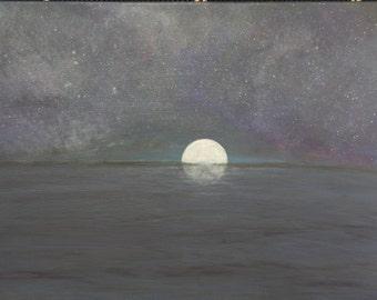 Midnight Secrets-seascape-nightscape-fullmoon-water-sky-original painting