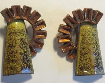 1950's Vintage MATISSE Enameled Copper Clip-ON Earrings Excellent