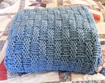 Handmade knit afghan throw blanket available in many colors.  Free domestic USPS priority shipping!!