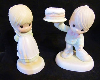 "Precious Moments""  God is Love Dear Valentine  & 1986 This is the Day Which The Lord Has Made"" Figurines"