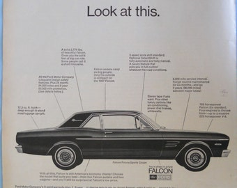 1967 Ford Falcon Futura.  Sports Coupe ad.  2 door hardtop. Black and white.  Vintage Ford Falcon ad.  Life Magazine.  April 7, 1967.