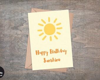 "Happy Birthday Sunshine - Printable Birthday Greeting Card, 5x7"", Foldable, Sun, Yellow, Orange"