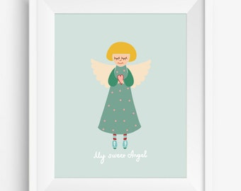 My Sweet Angel ,nursey decor,Angel Art Print,Angel nursey art,