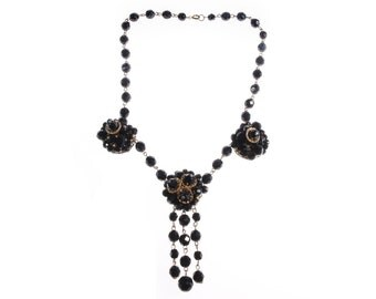 Black vintage french jet beaded necklace with flower detail