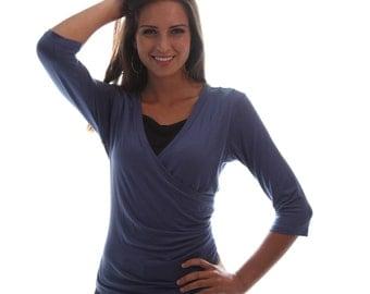 Wrap Style Nursing Top   Blue Breastfeeding Top   3/4 Sleeve Nursing Shirt   Breastfeeding Shirt   Breast Feeding Top   Nursing Clothes