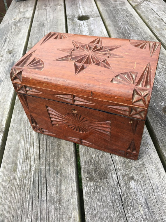 Items similar to large vintage rosewood carved box with
