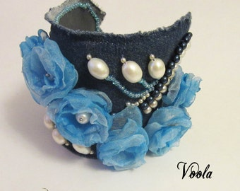 Denim bracelet with pearls and flowers Blue bracelet Bracelet embroidered pearl  Jeans bracelet Bracelet with flowers Wide Bracelet