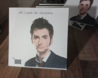 Doctor Who Christmas Card 10th Doctor David Tennant. Personalised on request.
