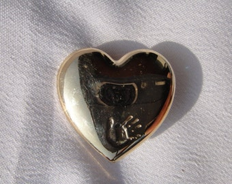 The Variety Club Heart Pin Vintage Hand Print Goldtone Brooch Hand On Heart Valentine Pin