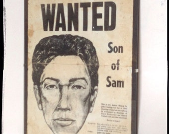 Son of Sam aged reproduction Newspaper Wanted cover.