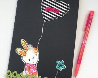 Bunny Notebook, Stitched Journal, Moleskine, Black and White Stripes, Bright Pink, Heart Balloon