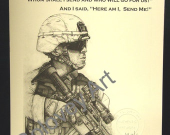 "Military ""Warrior"" with verse Isaiah 6/8 by artist Michael Solovey"