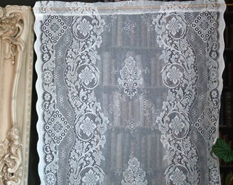 "Jessica A Beautiful Victorian design c1895 cotton lace Curtain panel .9 x1.6m 36""x63""  readymade Scottish lace Laura Ashley style"