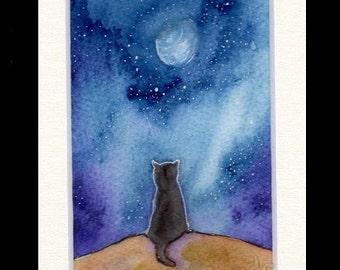 Hand-Painted Original Greetings Card   -   'Moon Cat'  not a print
