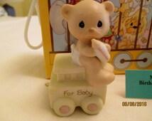 "Precious Moments Enesco Birthday Train Series ""For Baby"" Figurine Precious Moments New Born"