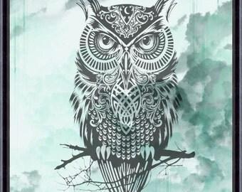 Owl Art Print, Owl Decor, Owl Watercolor Art, Owl, Owl Wall Decor (01)