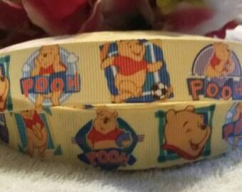 3 yards, 7/8' winnie the pooh design Grosgrain ribbon