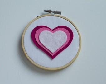 CLEARANCE - Pink Felt Heart Hoop Art